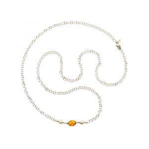 Collana lunga in Argento, Perle e Ambra